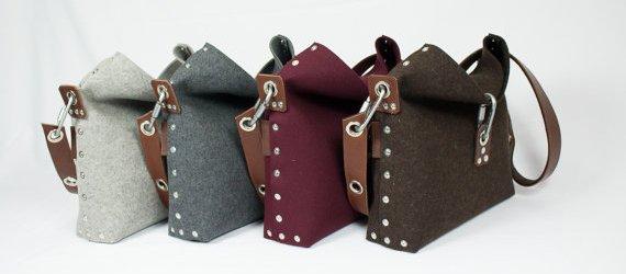 felt and leather shoulder bag