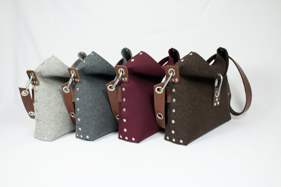 felt and leather shoulder bag