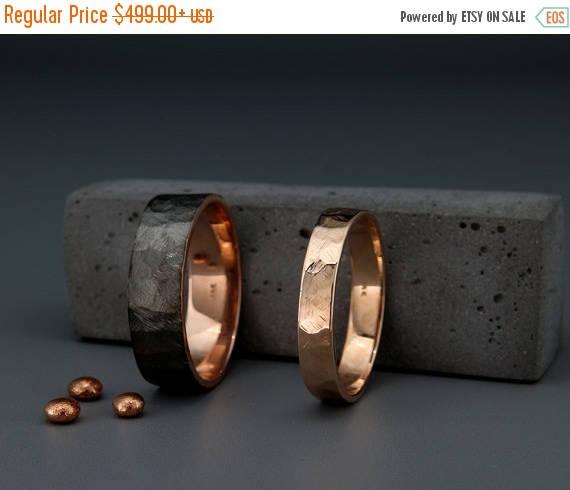 rhodium rose gold matching wedding bands