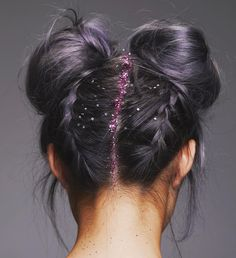 purple double bun hair