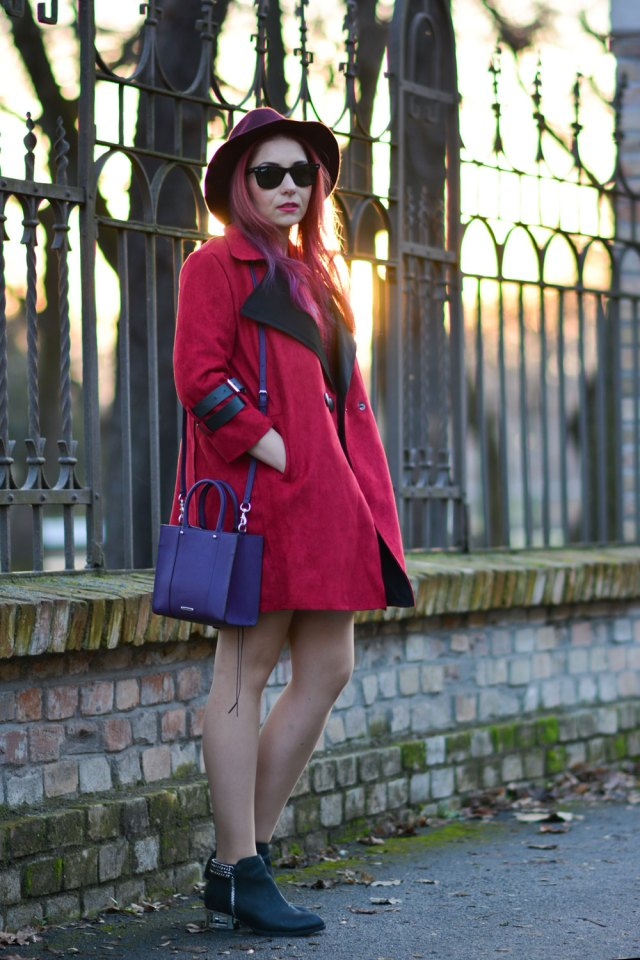 red suede coat