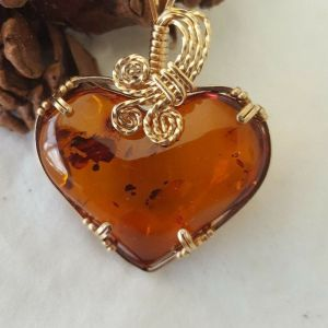 Brown Baltic Amber Heart Pendant, Wire Wrapped in 14 k Gold Filled Wire