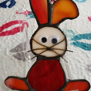 """Stained Glass """"Easter Bunny"""" Sun Catcher or Ornament , 4.5 x 2 inches"""