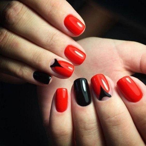 маникюр красный с черным фото дизайн 7