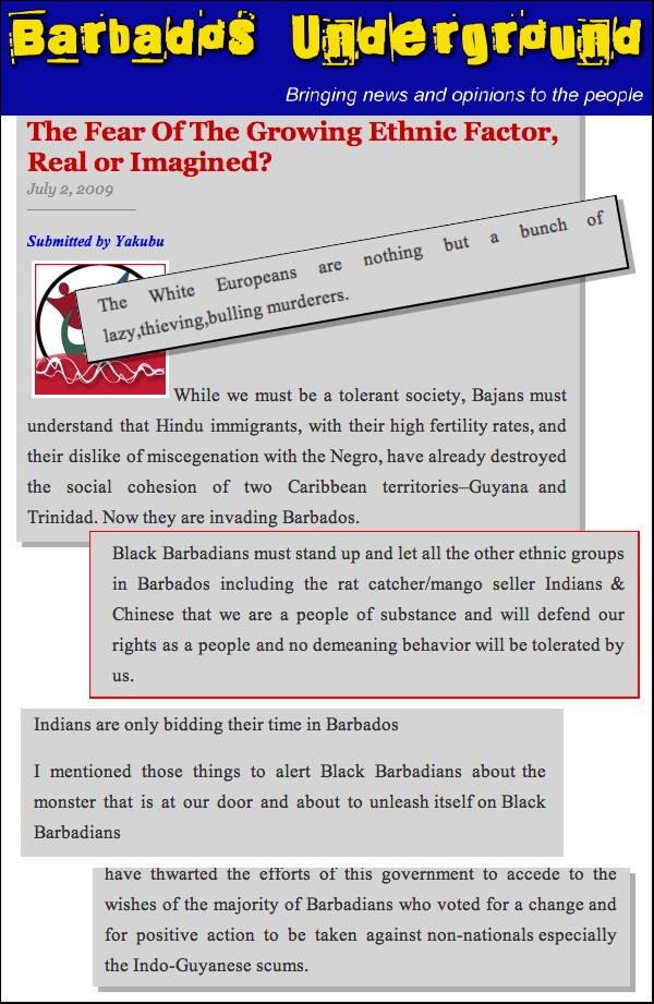 Barbados Racism A4a
