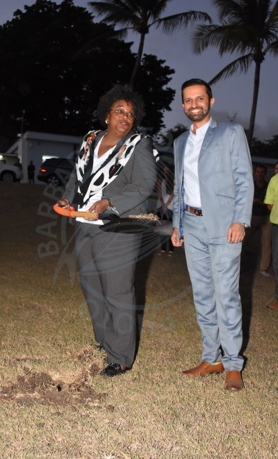 Prime Minister Mia Mottley (left) and PromoTech CEO Kailash Pardasani during yesterday's ground breaking ceremony.