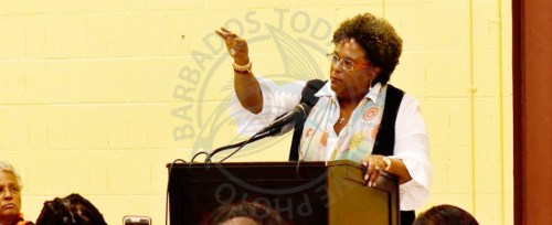 Prime Minister Mia Mottley addressing the Barbadian Diaspora at a town hall meeting on Wednesday in Brooklyn, New York.