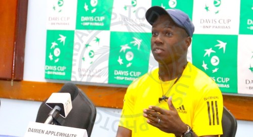 Barbados Davis Cup captain Damien Applewhaite making a point during this morning's press conference. (Picture by Morissa Lindsay)