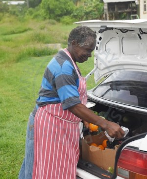 Vendor Esther Headley was busy at work this morning in St Andrew after the storm.