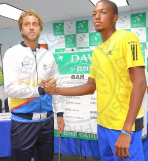 (From left) Ecuador's number one seeded singles player Roberto Quiroz will take on Barbados' number two Matthew Foster-Estwick.