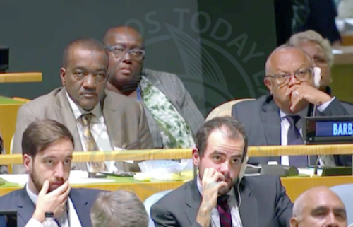 The Barbados delegation included Minister of Health Jeffrey Bostic (second from left), Minister of Foreign Affairs Dr Jerome Walcott (right), Permanent Secretary in the Prime Minister's Office Alies Jordan (in the back row), and Ambassador-at-large Dame Billie Miller (partially hidden) during today's 73rd meeting of the UN General Assembly.