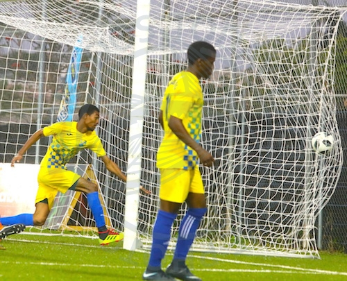 Chai Lloyd (second left) scored for Paradise. (FP)