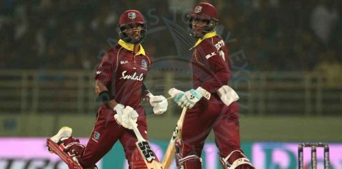 HOPE AND THE HITMAN - Shai Hope (l) and Shimron Hetmyer taking a single during their thrilling century partnership.