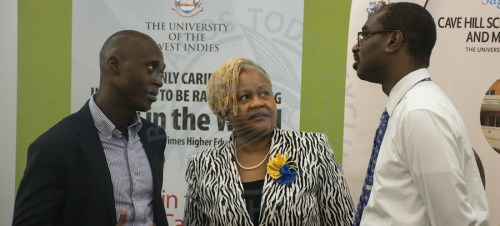 From left, head of the Department of Management Studies at Cave Hill Campus Dr Dion Greenidge, Programme Director and Office-in-Charge at SCHSBM Dr Ann Wallace and Dean of the Faculty of Social Science Dr Justin Robinson.
