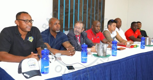 (From left) President of the Barbados Wrestling Association Rollins Alleyne, Kerry Grant, Russell Gibson, Yandro Quintana Rabalta, Cristian Alberto Nova Roca were among those at the head table. (Picture by Morissa Lindsay)