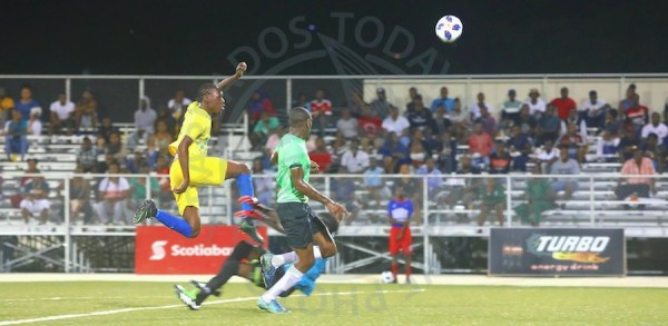 Forward Dario Harewood scored this superb equalizer for Paradise against St. Andrew Lions. (Pictures by Morissa Lindsay)
