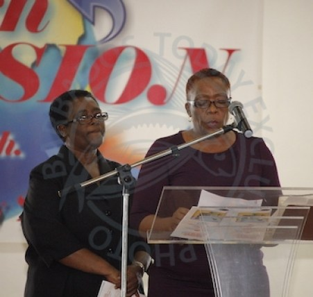 Station Sergeant Juan Walrond's best friend of many years, Margot Odwin (right) delivering the eulogy during the service.
