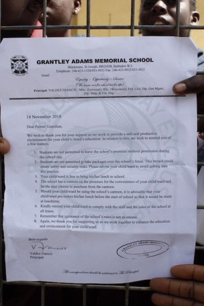 The letter from Grantley Adams Memorial Principal Valdez Francis to the parents and guardians of his students.