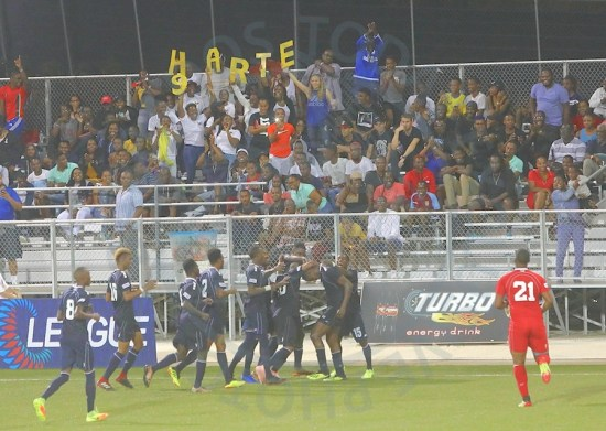 Mario Harte scored a goal on his return to the Barbados senior men's national team and local spectators enjoyed it with a section of the crowd spelling out his name.