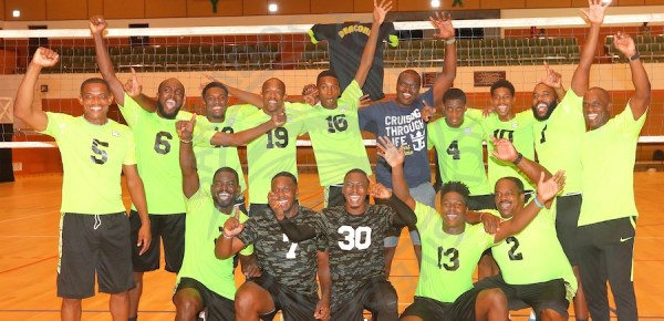 Omega XL Deacons are the new kings of the Gel Senior Barbados Volleyball Association Knockout Competition. (Pictures by Morissa Lindsay).