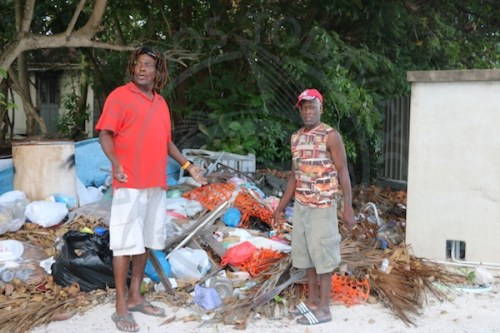 Beach chair vendor Rodney Marshall (left) is calling on Government to clean up Worthing beach.