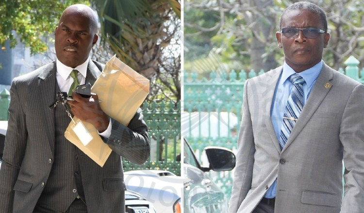 Former Ministers of Housing and Lands Michael Lashley (left) and Dennis Kellman.