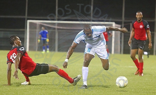 Attacking midfielder Rashad Jules (center) scored the lone goal for BDFSP against Brittons Hill.