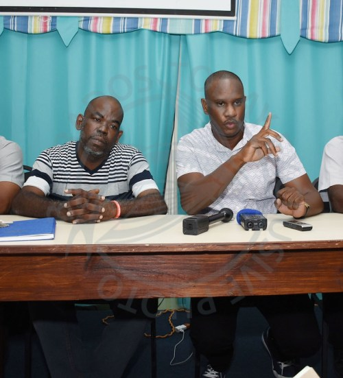President of recently formed PSV Workers Association Shawn Best (left) and spokesperson Fabian Wharton.