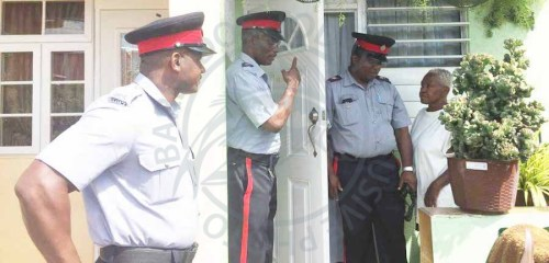 Police officers conducted door-to-door visits in St Michael communities today.