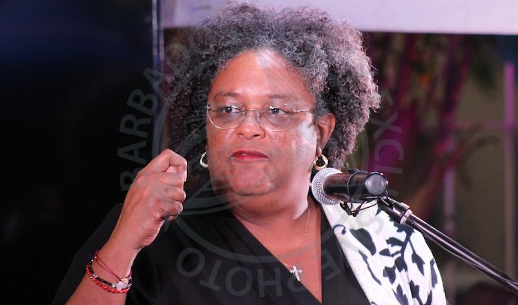Prime Minister Mia Mottley at tonight's cocktail reception of the Enterprise Growth Fund Ltd at Monteith Gardens, Barbarees Hill, St Michael.