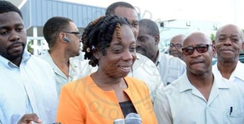 Barbados Workers' Union General Secretary Toni Moore (centre). (FP)