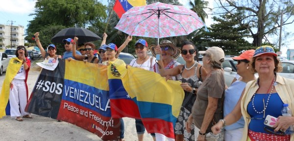 Venezuelans protesting against President Nicolas Maduro in Barbados today.