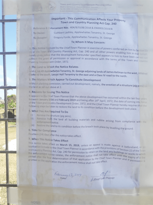 Notice was given to Gregory Forde who is the owner of an illicit pig farm at Applewhaites St George.
