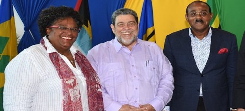 From left, Prime Ministers Mia Mottley, St Vincent and the Grenadines' Ralph Gonsalves and Antigua and Barbuda's Gaston Browne.