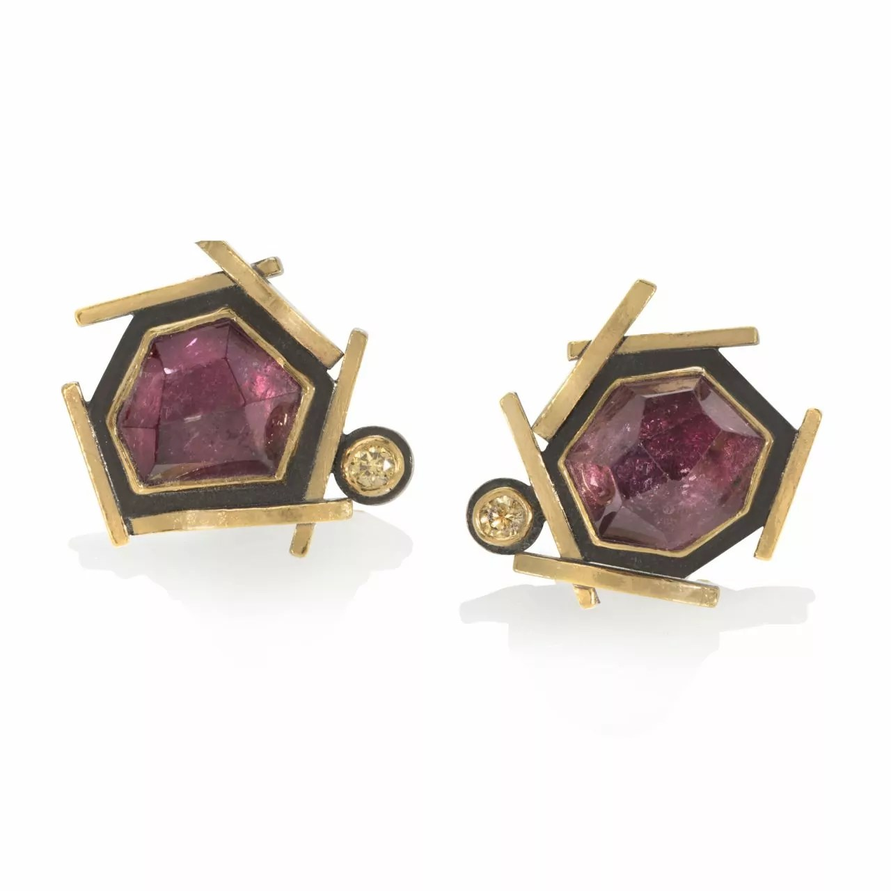 Pink Tourmaline and Yellow Diamond Earrings