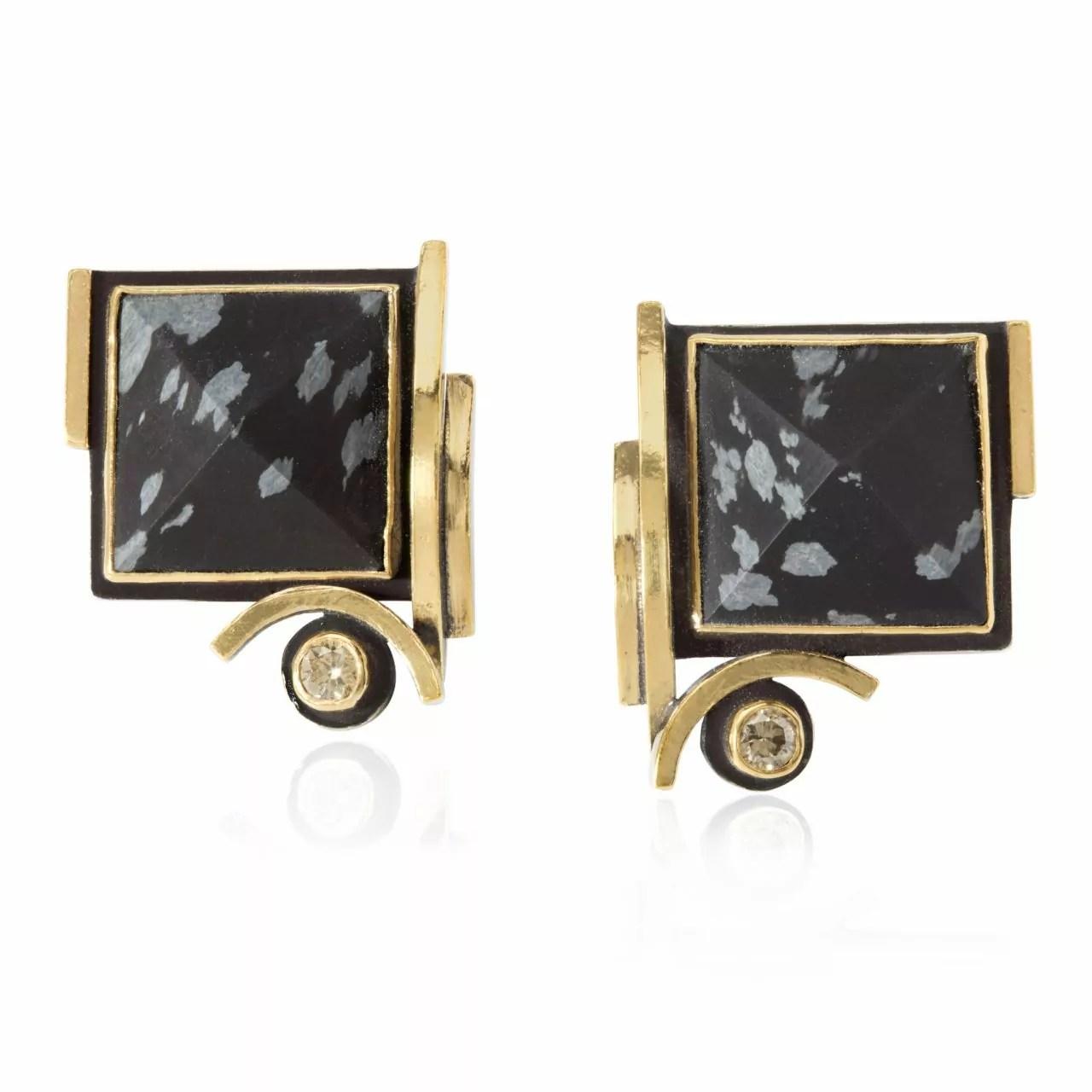 Snowflake Obsidian and Diamond Earrings