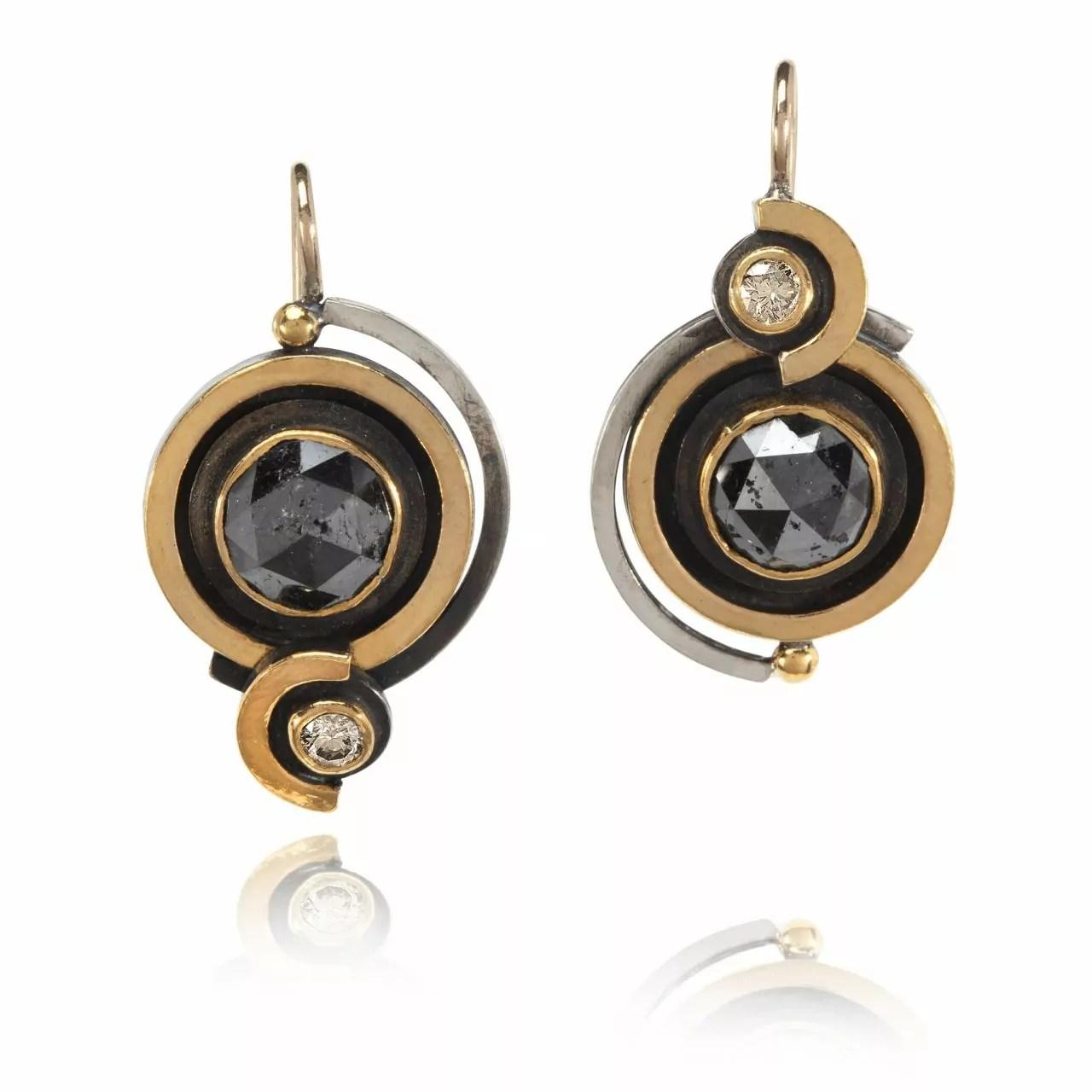 Black and White Diamond Hoop Earrings