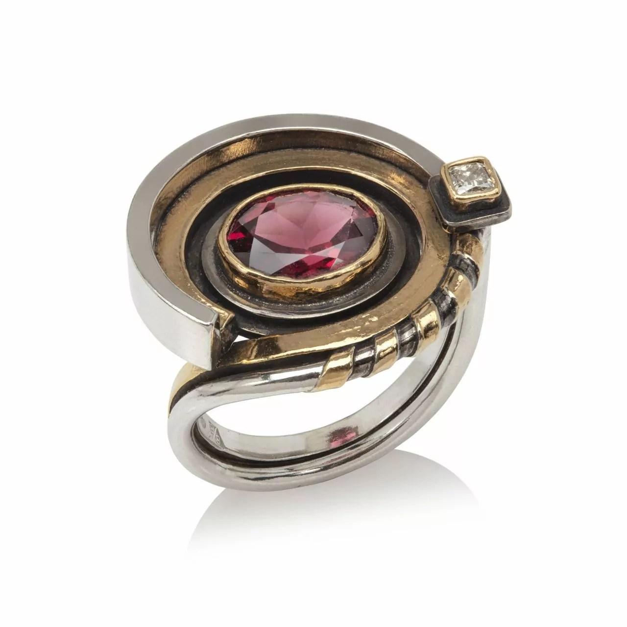 Red Tourmaline and Diamond Ring