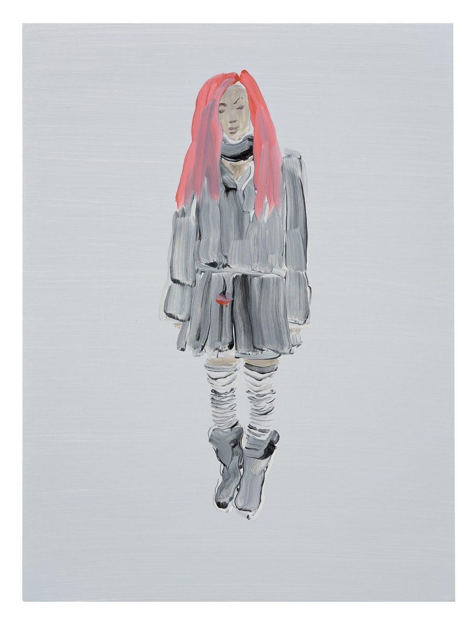 Goth with Ruby Hair - Oil on board 2016: 40x30cm