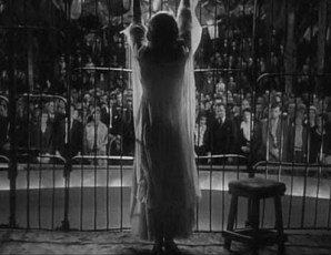 Florence Fallon in the lion's cage