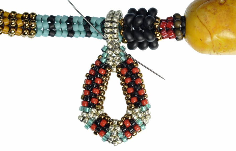 Tibetan Inspired Beaded Rope - Teardrop Charm - Row 14