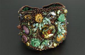 Bead Emroidery - Amphitrite's Cuff - Resin Cabochon and Polymer Clay Seashells