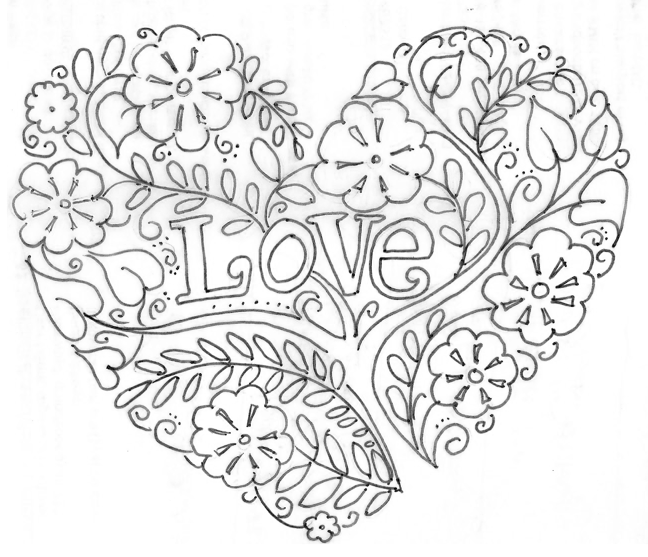Detailed Heart Coloring Coloring Pages