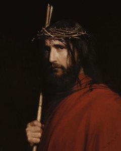 Jezus met doornenkroon, rode mantel en staf