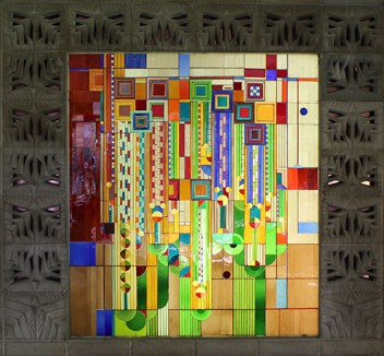 """""""Saguaro Forms and Cactus Flowers"""" stained glass"""