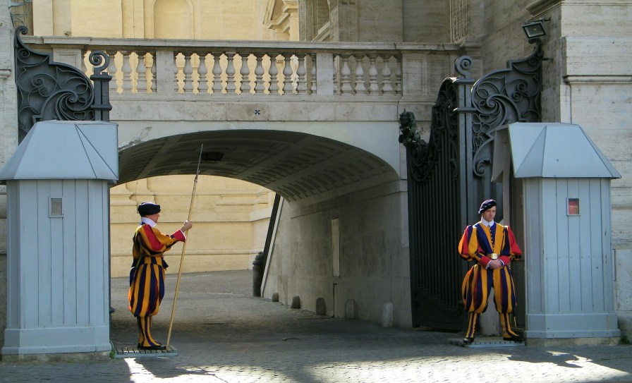 Swiss Guards stationed at the Vatican.