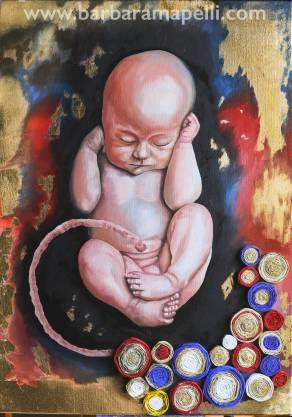 Barbara Mapelli, La creazione, 2016, Olio su tela, 50 cm x 70 cm.