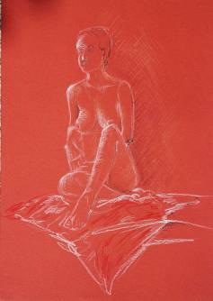 Barbara Mapelli, Ritratto modella, matita su carta