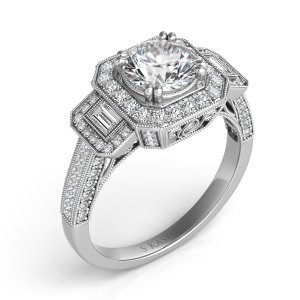 Halo engagement ring in 14K white gold with a total of 84 stones,