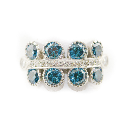 blue and white dimaond ring